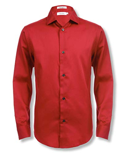 Red Suit For Kids (Calvin Klein Boys' Big Long Sleeve Sateen Dress Shirt, Dark Red,)