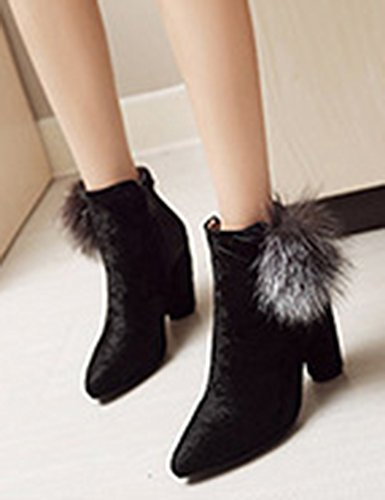 Faux Elegant Side High Toe Chunky Heel Zipper Aisun Booties Pointed Black Suede Women's qFnw66ITO