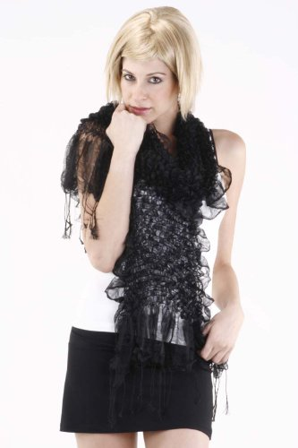 Pure Silk Hand Made Exclusive CHIC Scarf / Muffler Black