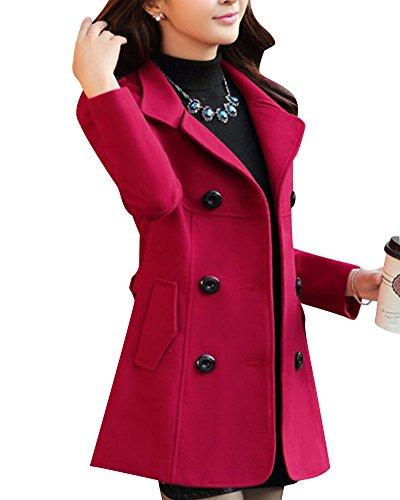 Botones ZhuiKun de Vino Doble Casual Abrigo Rojo con Chaqueta Filas Mujer Largo Clásica para IxrnwtS7x