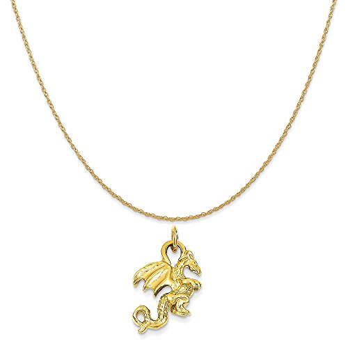 Mireval 14k Yellow Gold Solid Polished 3-Dimensional Dragon Charm on 14K Yellow Gold Rope Necklace, 16