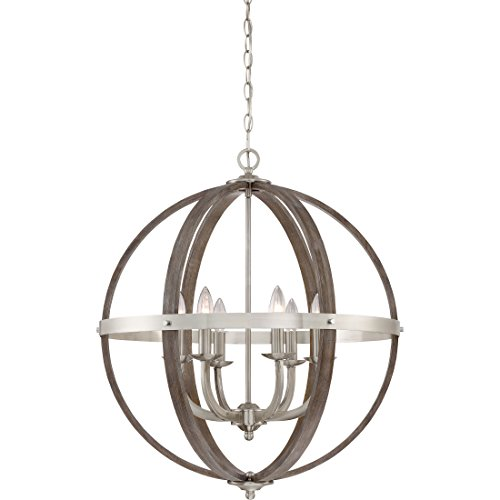 (Quoizel FSN5206BN Fusion Industrial Wrought Iron and Faux Wood Chandelier, 6-Light, 360 Watts, Brushed Nickel (29