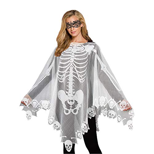 Dead School Girl Halloween Look (Halloween Costume Skeleton Costume Poncho Halloween Mask Lace Ball Mask 2PCS)