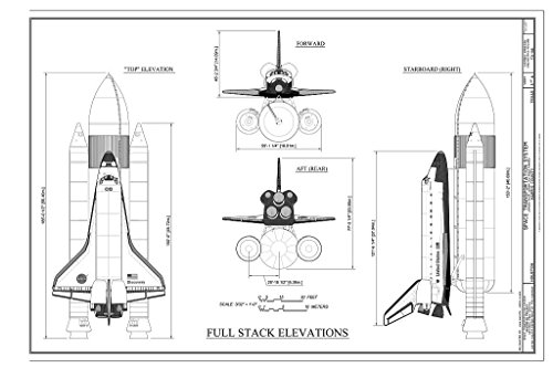 Blueprint Diagram 3. Elevations of the Space Shuttle Launch Stack Assembly - Space Transportation System, Lyndon B. Johnson Space Center, 2101 NASA Parkway, Houston, Harris County, TX 24in x 16in ()