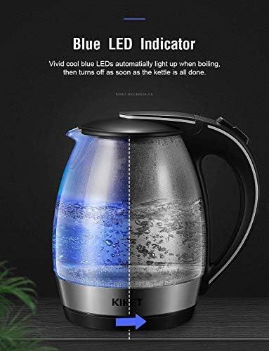 Bouilloire Électrique en Verre 1, 7L Bouilloire Électrique en Cristal avec illumination LED 2200W Bouilloire de Chauffage Rapide, Auto-Arrêt Protection Anti-Ébullition à Sec avec Sans BPA