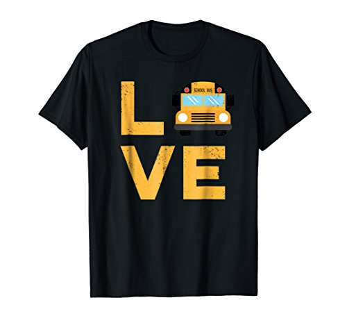 Love Bus Drivers - Love School Bus Driver Typography Gift T-Shirt