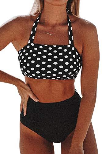 CUPSHE Women's Stripe Reversible Bandeau Top High Waisted Bikini (X-Small (USA 0 2), Black White)