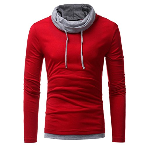 (HTHJSCO Men's Spring Autumn Winter Casual Funnel Neck Plaid Jacquard Pullover Hooded Top Sweatshirt Hoodies (Red, L))