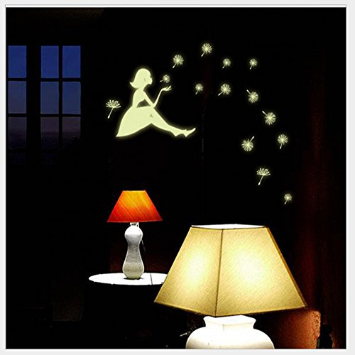 Couplebracelets88 Kids Removable Moon Stars Glow in The Dark Sticker Night Luminous Room Wall Decal Stickers Perfect for Kids Bedding Room or Birthday Gift,Beautiful Wall Luminous Decals