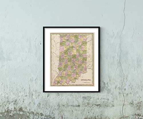 1841 Map World Atlas Indiana Historic Antique Vintage Reprint Size: 20x24 Ready to ()