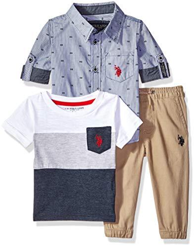 U.S. Polo Assn. Baby Boys Short Sleeve, T-Shirt Pant Set