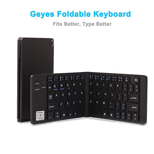 board, Geyes Ultra Slim Wireless BT Foldable Keyboard with Carry Pouch and Cell Phone Stand for IOS Android Windows, Pocket Size, Aircraft Aluminum Alloy, Black (Pocket Pc Qwerty Keyboard)