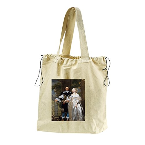 Married Couple In The Park (Coques) Canvas Drawstring Beach Tote Bag by Style in Print