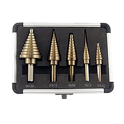 CO-Z 5pcs Hss Cobalt Multiple Hole 50 Sizes Step Drill Bit Set with Aluminum Case from CO-Z