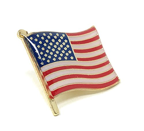 "50 Bulk Waving American Flag Lapel Pins - Each Pin 1"" Tall and Individually Packaged from Funiverse"