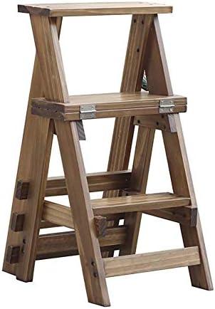 ソリッドウッド3階建て階段椅子ホーム折りたたみスツール3階建てダブルユース屋内ラダー34x44x68.5cmステップスツール