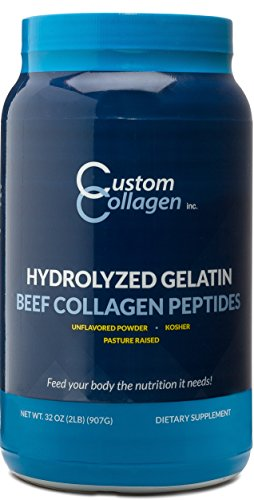 Collagen Peptides Powder 2lb (32oz) Jar - Clean Collagen® - Unflavored, Grass Fed, Paleo, Non GMO, Kosher - Highly Soluble Protein