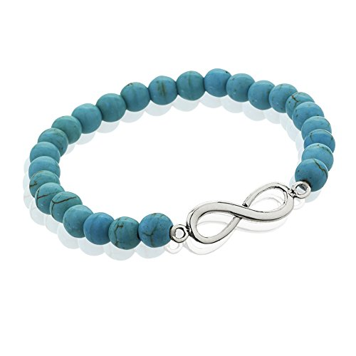 925 Sterling Silver Infinity Sign Beaded Blue Reconstructed Turquoise Gemstone Stretch Bracelet (Beaded Turquoise Silver Bracelets Sterling)