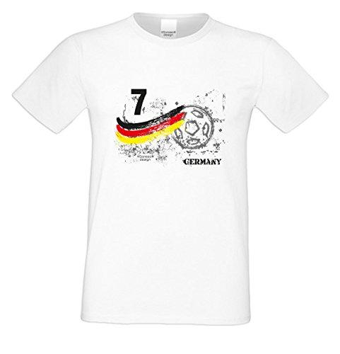 EM Fanshirt T-Shirt - Trikot Germany Deutschland Nummer 7 - Shirt zur Europameisterschaft für Fußball Fans mit Humor
