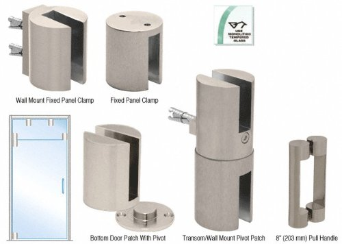 Brushed Nickel Beretta Free Swinging Door Kits for Use With Fixed Transom With 8'' Handle by CR Laurence