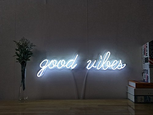 Good Vibes Real Glass Neon Sign For Bedroom Garage Bar Man Cave Room Home Decor Handmade Artwork Visual Art Dimmable Wall Lighting Includes Dimmer