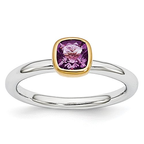 lver Stackable 5mm Cushion Amethyst Ring Size 9 (2 Tone Amethyst Ring)