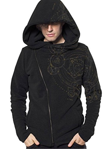 (Men's Quality Allover Printed Hoodie with Diagonal Zipper and Oversized Stylish Hood - in Black - Small )