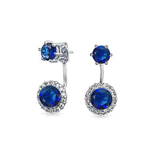 Simulated Sapphire Glass CZ Rhodium Plated Brass Ear Jacket Earrings ()