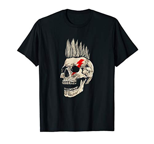 Punk-Rock-Skull-T-Shirt-Punks-Not-Dead-Mohawk-Style-Tee-Gift