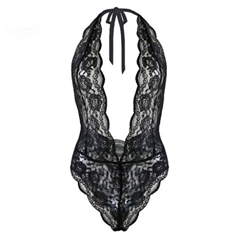 Trendy Women One Piece Lace Transparent Babydoll Halter Sleepwear Sexy Hot Erotic Costumes(Black,XXXL)