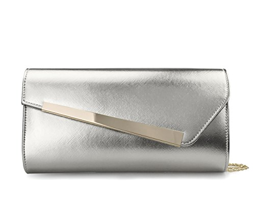 Accent Purse Silver Wedding Bar With Chain Clutch Womens Strap Party Evening Metal zA1qPwzv