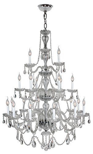 Worldwide Lighting W83099C38-CL Provence Collection 21 Light Chrome Finish & Clear Crystal Chandelier 38 inch D x 54 inch H Three 3 Tier large Transitional Provence Collection 21 Light Three 3 Tier Clear Crystal Chandelier, 38″ D x 54″ H Large