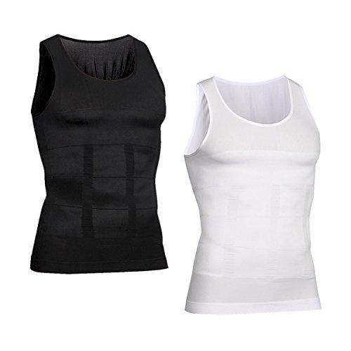 HOTER Men's Body Shaper Slimming Vest, Men's Elastic Sculpting Vest Thermal Compression Base Layer Slim Compression Muscle Tank Shapewear - Wear Mens Vest
