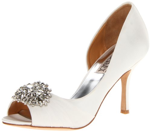 Badgley Mischka Women's Pearson D Orsay Pump,White Satin,9 M US - Crystal Bridal Shoes