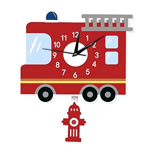 (Transport-Accessories - Cartoon Wall Clock American Fire Engine Shape Slient Wall Hanging Clock for Children Kids Bedroom Decor Home Decoration)