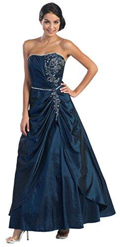 Linie Corsagenkleid Navy Hochzeitsgäste XL Abendkleid Festkleid Lang Brautmutterkleider Ballkleid A E6FXXw