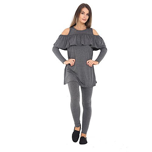 Get The Trend - Chándal - para mujer CHARCOAL COLD SHOULDER FRILL