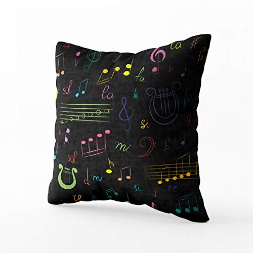Capsceoll Sofa Throw Pillows Pattern Drawn Set Music Symbols Colorful Doodle Treble Clef Bass Sofa Throw Pillows Case 20X20Inch,Home Decoration Pillowcase Cushion for Sofa Couch