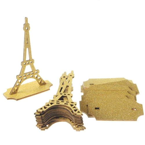 (Homeford Firefly Imports Wooden Eiffel Tower with Glitter, 5-Inch, 10-Count,)
