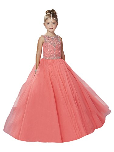 GreenBloom Girls' Lace Up Crystals Beaded A-Line Tulle Organza Bodice Pageant Ball Gown Dress Blush 4