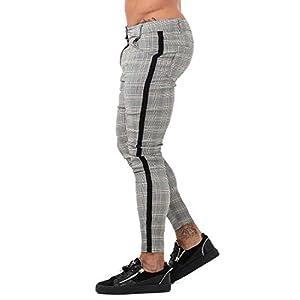 GINGTTO Mens Chinos Slim Fit Stretch Flat-Front Skinny Dress Pants Grey Plaid 21