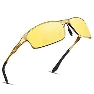 Soxick Night Driving Polarized Glasses for Men Women Anti Glare Rainy Safe HD Night Vision HOT Fashion Sunglasses(black gold oval yellow)