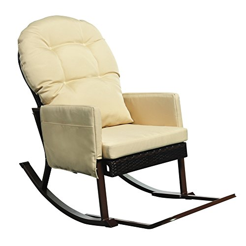 Outdoor Rocking Chair with Foot Rest, All Weather Porch Deck Chair, Outdoor Glider Patio Armchair Lounge Chair, UV Resistant and Anti-Rust Aluminum Frame (Khaki) Review