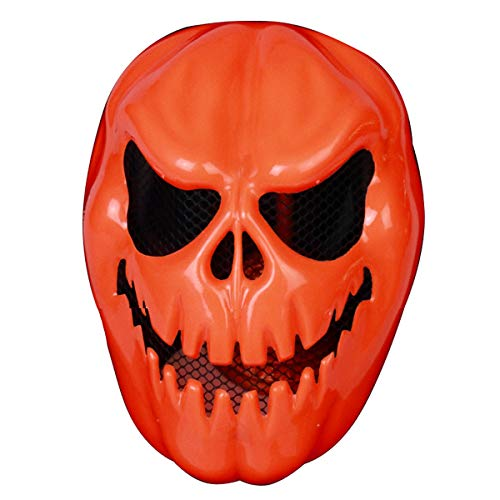 7Queen Halloween Last Night Pumpkin Mask Creepy Scary Jack O'lantern Costume Accessory for Teens Aults Men Women Cosplay Masquerade Party Decorations]()