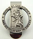 Pewter Saint Christopher Go Your Way in Safety Visor Clip, 1 1/4 Inch