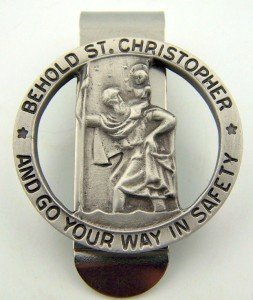 Pewter Saint Christopher Go Your Way in Safety Visor Clip, 1 1/4 (St Christopher Saint)