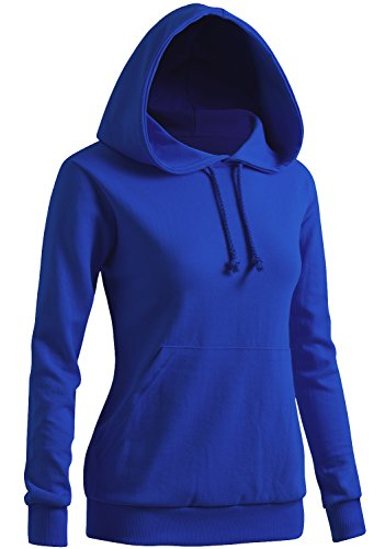 CLOVERY Women's Long Sleeve Kangaroo Pocket Pullover Hoodie Cobalt X-Large