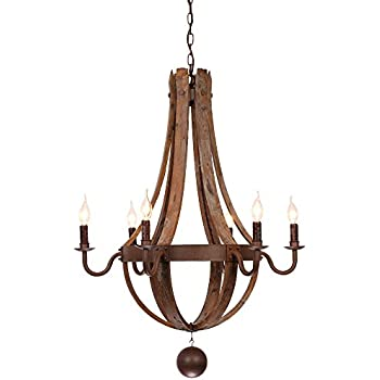 Rustic wine barrel stave reclaimed wood rust metal chandelier with rustic wine barrel stave reclaimed wood rust metal chandelier with candle light 6 lights aloadofball Gallery