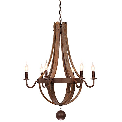 (Rustic Wine Barrel Stave Reclaimed Wood & Rust Metal Chandelier with Candle Light 6 Lights)