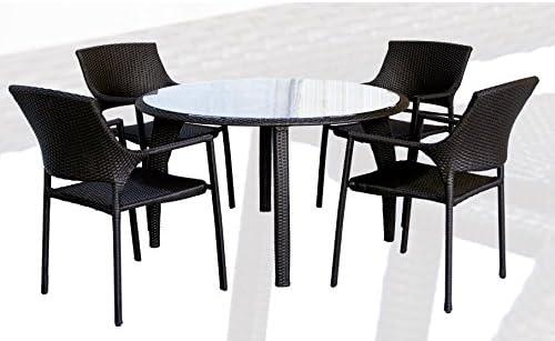 Conjunto de terraza y jardin rattan chocolate Onda mesa redonda 120cm: Amazon.es: Jardín